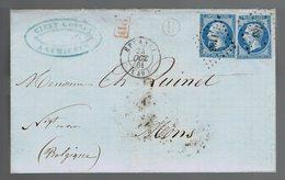 N° 14B X 2 / Lsc  De Bte Rurale H / PC 1183 Epernay  24 Oct 61 => Belgique Cachet Exp. De Cumières  ( Description ) - Marcofilie (Brieven)