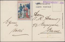 Schweiz Feldpost STRASSENBAUDET. JURA Auf AK Bern Mit Vignette Bataillon 129 - Besetzungen 1914-18