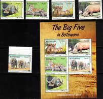 BOTSWANA, 2018, MNH, THE BIG FIVE, ELEPHANTS, LIONS, LEOPARDS, BUFFALO, RHINOS, 5v+SHEETLET - Felini