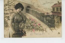"""BELGIQUE - LIEGE - TROIS PONTS - Jolie Carte Fantaisie Femme Et Train """"Un Baiser De TROIS PONTS """" - Trois-Ponts"""