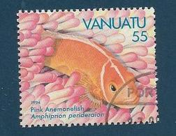 Timbre Oblitéré Vanuatu, N°959 Yt, Faune Marine, Poisson Clown, Pink Anemonefish, Amphiprion Perideraion, 1994 - Vanuatu (1980-...)