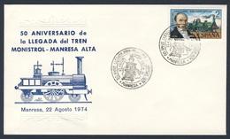 Spain Espana 1974 Cover / Brief / Envelope - 50 Aniv. La Llegada Del Tren Monistrol - Manresa / Eisenbahn - Treinen