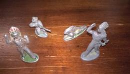 Lot De 4 Figurines Quiralu / Aludo - Indien Et Cow-Boy - Quiralu