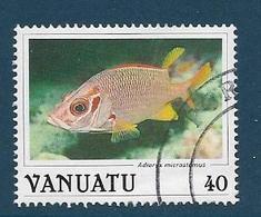 Timbre Oblitéré Vanuatu, N°776 Yt, Faune Marine, Poisson , Adioryx Microstomus, 1987 - Vanuatu (1980-...)