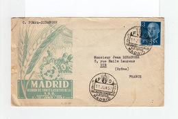Sur Enveloppe Madrid Reunion Comité FAO 1957 Timbre Effigie Franco C. Commémoratif FAO Madrid. (1151x) - Machine Stamps (ATM)
