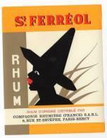 Etiquette Chromo Pour Rhum St. Ferréol, Thèmes: Rhum, Esclave (?) - Publicités