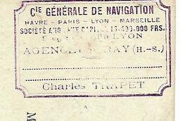 Carte Commerciale 1897+ Fiche  Décompte 1913 / 70 GRAY / Compagnie De Navigation / Pb Glace, Baisse Barrages - Transports