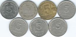 Argentina - 5 Centavos - 1937 (KM34) 1943 (KM40) 1950 (KM43) 1951 (KM46) 1953 (KM46a) 1954 (KM50) & 1959 (KM53) - Argentine