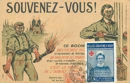 TIMBRE ET RARE VIGNETTE OBLITERES SUR CARTE POSTALE ILLUSTREE SATIRIQUE ANTI ALLEMAND - 12 NOVEMBRE 1917 - Marcophilie