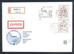 Czech Czechoslovakia 1992 Registered Cover: Ice Hockey Eishockey Hockey Sur Glace; IIHF World Championship Slogan RARE - Hockey (sur Glace)