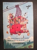 Suisse - Champéry - Valais - Carte à Système - Une Sacré Bagarre Pour Monter -  Illustrateur Jean Brian - 1960 - - VS Valais