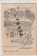 CARTE De REPRESENTANT - 66 - BANYULS - PUBLICITE MAISON DITELY - TARIFS Des VINS - Fournisseur HOPITAUX PARIS - Publicités
