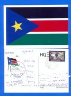 SOUTH SUDAN Postally Used Flag Postcard From South Sudan Via Uganda To The Netherlands Südsudan Soudan Du Sud Stamps - Sud-Soudan