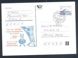 Czech Republic 1993 Postal Stationery Card: Ice Hockey Eishockey Hockey Sur Glace; Junior World Championship Ostrava - Jockey (sobre Hielo)