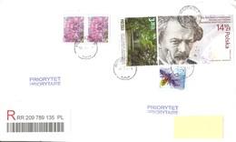 POLONIA - 2019 Lettera Raccomandata Per L'estero Con 5 Francobolli (fiori, Giardino Botanico, Tipografia) - 1944-.... République