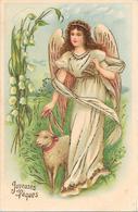 Cpa Gaufrée, Relief, Dorures -Bel ANGE Accompagné D'un Agneau - Pâques - Angels