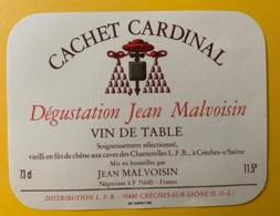 10058 - Cachet Cardinal Dégustation Jean Malvoisin - Rouges