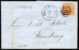 DANEMARK - N° 8 / LSC DE HADERSLEV LE 13/4/1858 - TB - 1851-63 (Frederik VII)