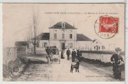 21 - CESSEY Sur TILLE - La Mairie Et L'Ecole De Garçons Animées - Automobile - Autres Communes