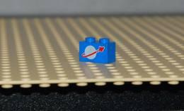 Lego Brique Bleu 1x2 Avec Logo Space Printed Ref 3004p90 Logo Rond Gris Blanc - Lego Technic