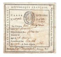 """Carte De SURETE  """"Commune De Paris"""" 3e Complémentaire An4  19 Sept 1796 - Documents Historiques"""