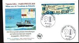 Paris Philex 2018 Paquebot Catapulte Ile De France Vignette Lisa  Obliteration - Luchtpost