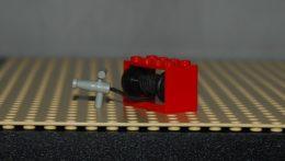 Lego Bobine Rouge De Ficelle  2 X 4 X 2 Complète Avec Ficelle Et Manche Gris Clair Ref 4209c04 Set 4164 - Lego Technic