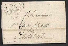1816 - LAC - 33 CLERMONT L'HERAULT 40mm X 12mm (HERAULT) A MARSEILLE - 1801-1848: Précurseurs XIX