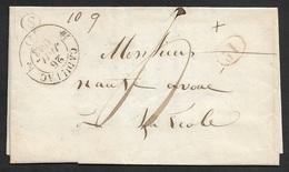 1843 - LAC - C.à.d TYPE 12 CADILLAC (Gironde)- Bureau Rural S - 1D Taxe - Poststempel (Briefe)