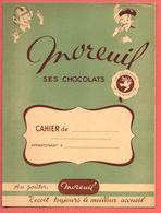 """Protège-Cahier """" CHOCOLAT MOREUIL """" Messager De La Qualité - S.A.P.A.L.F. Bordeaux/Paris Imp CAMILLE LACOSTE à BORDEAUX - Book Covers"""