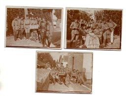 3 PHOTOS - MILITARIA - MILITAIRES ZOUAVES FETANT LE PERE CENT - FUSILS - BOUTEILLES DE CHAMPAGNE - Guerra, Militares