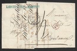 1843 - LAC - ANGOULEME - Boite Rural R - 1D Taxe - Lettre Commerciale LAROCHE FRERES - Poststempel (Briefe)
