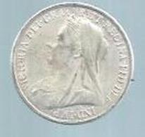 VICTORIA DEI GRA BRITT. REGINA.FID.DEFF - 1898 ( GRANDE BRETAGNE )  PIECE ARGENT - 18 Grammes - Diamètre 3,8 Cm - Non Classificati