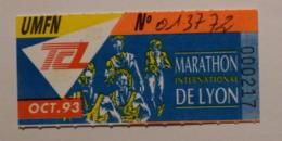 Ticket Abonnement TCL Lyon (69/Rhône) - Bus Métro - Octobre 93 - Tarif UMFN - MARATHON DE LYON - Abonnements Hebdomadaires & Mensuels