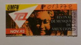 Ticket Abonnement TCL Lyon (69/Rhône) - Bus Métro - Nov. 93 - Tarif UMFN - FESTIVAL MUSIQUE VIEUX LYON - Abonnements Hebdomadaires & Mensuels