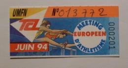 Ticket Abonnement TCL Lyon (69/Rhône) - Bus Métro - Juin 94 - Tarif UMFN - ATHLETISME / MEETING EUROPEEN - Abonnements Hebdomadaires & Mensuels