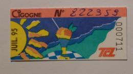 Ticket Abonnement TCL Lyon (69/Rhône) - Bus Métro - Juillet 95 - Tarif CIGOGNE - SOLEIL / MER / GLACE - Abonnements Hebdomadaires & Mensuels