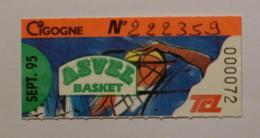 Ticket Abonnement TCL Lyon (69/Rhône) - Bus Métro - Septembre 95 - Tarif CIGOGNE - BASKET ASVEL - Abonnements Hebdomadaires & Mensuels