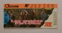 Ticket Abonnement TCL Lyon (69/Rhône) - Bus Métro - Octobre 95 - Tarif CIGOGNE - ANNEES PART-DIEU - Abonnements Hebdomadaires & Mensuels