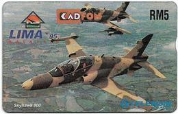 Malaysia (Kadfon) - L&G Full Face - 511C - LIMA '95, Airforce Skyhawk 100 - 1995, 5RM, 25.000ex, Used - Malaysia