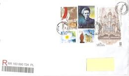 POLONIA - 2018 Lettera Raccomandata Per Estero Con 5 Francobolli (organo, S.Margherita, Maria Curie, P.Zatorski, Fiori) - 1944-.... Republik