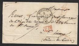 1841 - LSC - C.à.d MOULINS Type 12 - PORT PAYE X2  A CLUNY - Poststempel (Briefe)