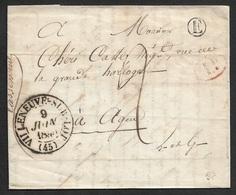 1840 - LAC - C.à.d VILLENEUVE SUR LOT Type 13 - Boite Rural E - 1D Taxe A AGEN - 1801-1848: Précurseurs XIX