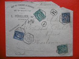 LETTRE RECOMMANDE 4 TIMBRES TYPES SAGE CACHET NIMES A CACHET OCTOGONAL 1898 - Storia Postale