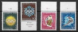 Sport D'hiver Hockey Ski Alpin - Suisse N°449 à 452 (2) 1948 (JO De Saint-Moritz 1948) ** - Invierno 1948: St-Moritz