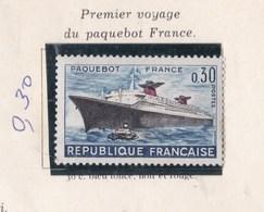 Timbre    Timbre 1962 PREMIER VOYAGE DU PAQUEBOT FRANCE - France