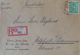 Köln 1947 R-Brief Nach Niedersessmar (rückseitig Ankunftsstempel) Einschreibezettel = Provisorium Frisier-Salon Brück - Zona Anglo-Americana