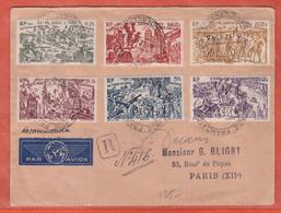 INDE LETTRE RECOMMANDEE SIGNEE DECARIS SERIE TCHAD AU RHIN DE 1946 DE CHANDERNAGOR  POUR PARIS FRANCE - Lettres & Documents