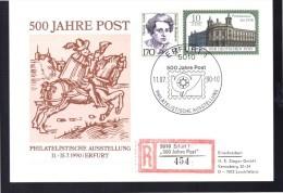 DDR  Carte Recommandee 500 Ans De Poste  1990 Erfurt 1 Poste Monument Facteur - Posta
