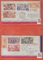 WALLIS 2 LETTRES RECOMMANDEES SIGNEES DECARIS SERIE TCHAD AU RHIN DE 1947  POUR NEW YORK ETATS UNIS - Covers & Documents
